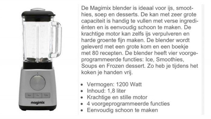 Welke blender voor groene smoothies. Magimix Le Blender.